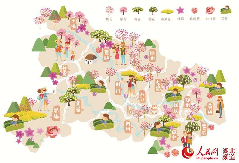 湖北乡村赏花游地图