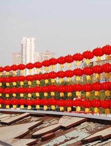 武汉洪山广场500个红灯笼红火迎新年