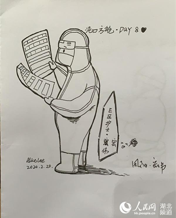 """武汉方舱日记:""""大白""""太可爱,我把他们画下来【4】"""
