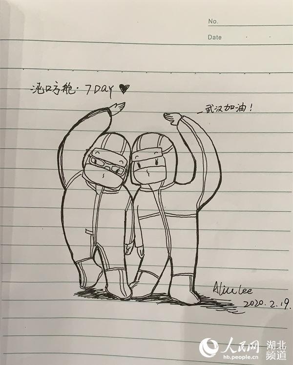 """武汉方舱日记:""""大白""""太可爱,我把他们画下来【3】"""