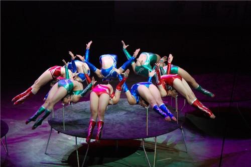 杂技表演; 图为当晚表演的《九人柔术》; 图为当晚表演的《九人柔术》